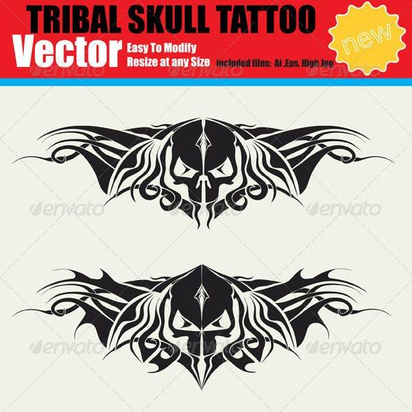 Vector Tribal Skull Tattoo Set