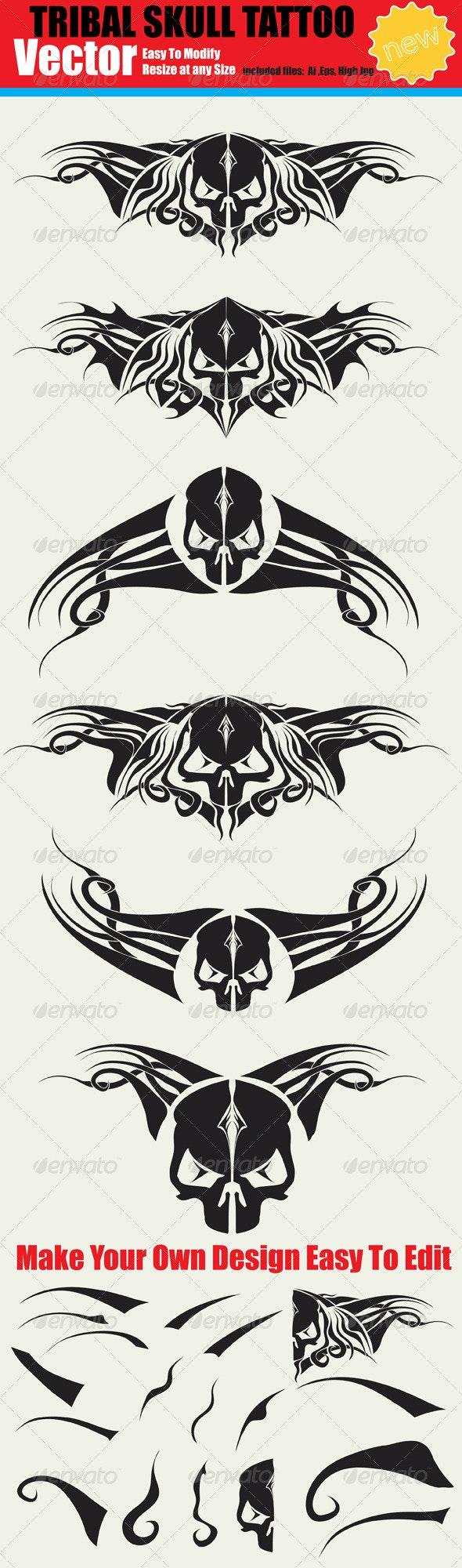 Vector Tribal Skull Tattoo Set - Tattoos Vectors