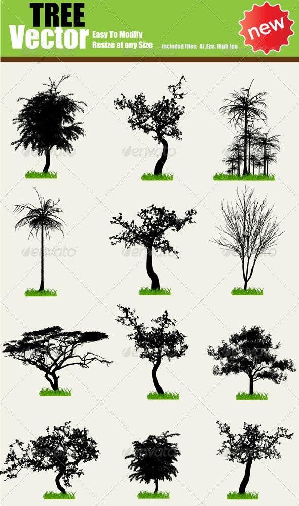 Vector Tree Silhouette Set - Nature Conceptual