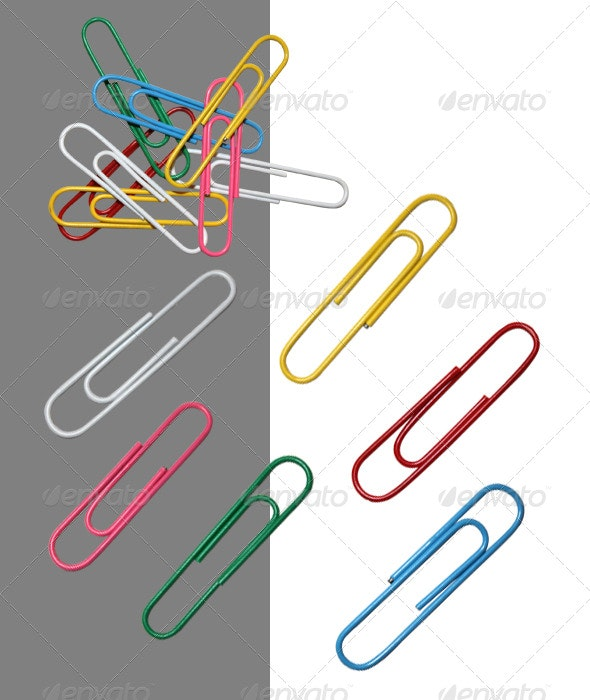 Colored Paperclips - Home & Office Isolated Objects