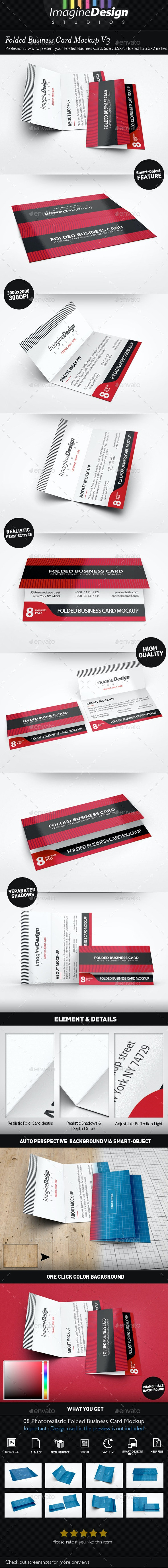 Folded Business Card Mockup V3 - Business Cards Print