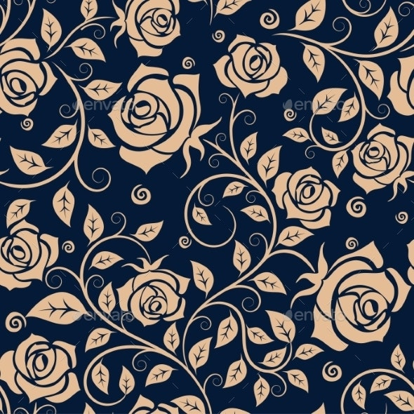 Medieval Seamless Pattern With Roses - Backgrounds Decorative