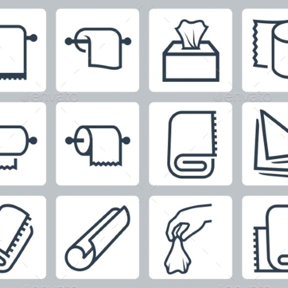 Vector Icon Set Of Towels, Napkins And Paper