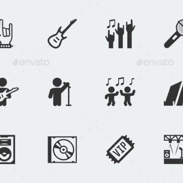 Rock Festival, Concert Vector Icon Set