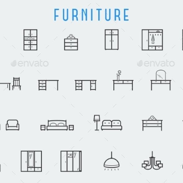 Furniture Icon Set In Line Style