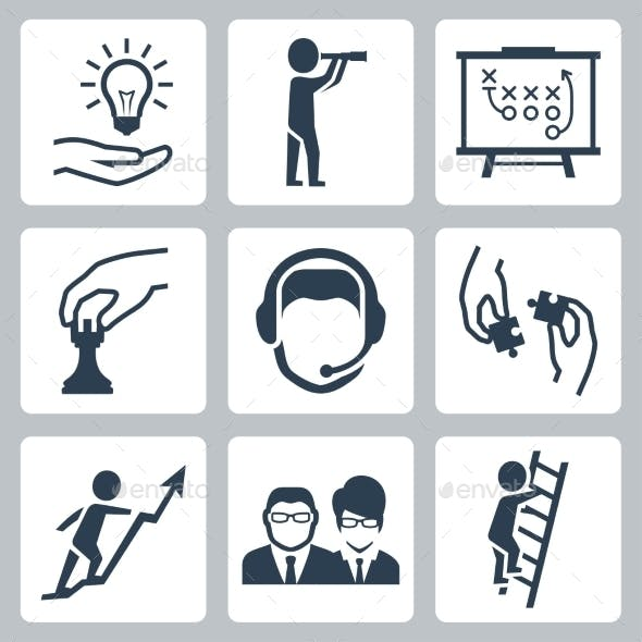 Vector Conceptual Icon Set Of Success Business