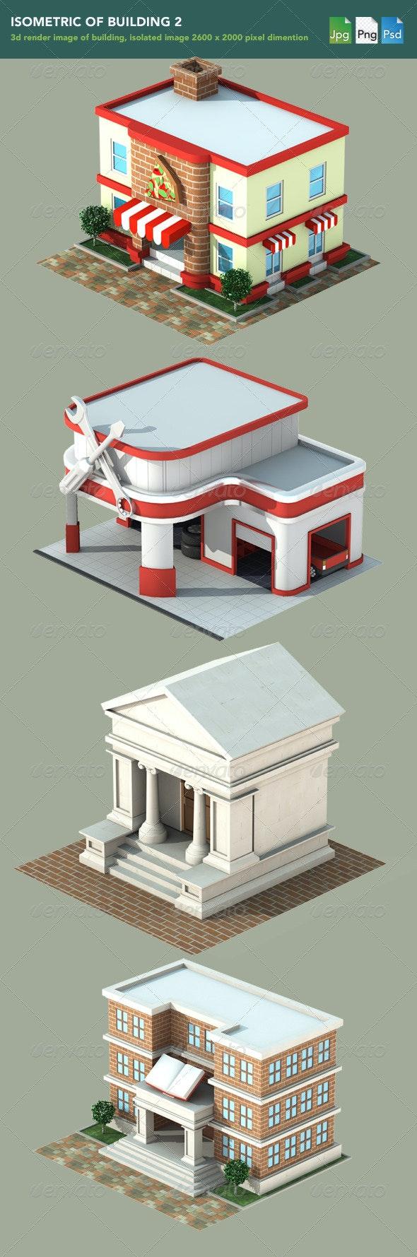 Isometric 3D Render of Building 2 - 3D Renders Graphics