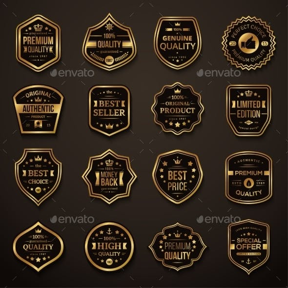 Set of Retro Gold and Black Quality Badges