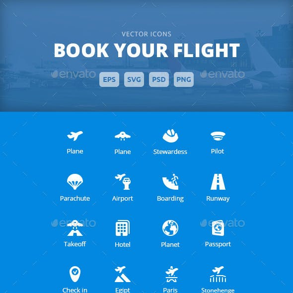 Book Your Flight - Vector Icons