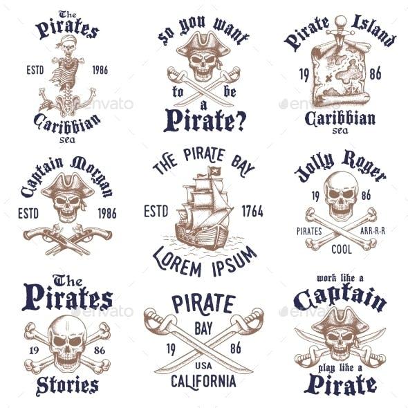 Set of Vintage Hand Drawn Pirates