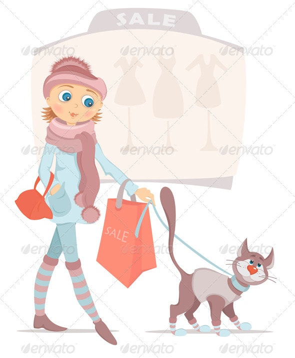 Shopping Woman With Bag And Smiling Cat On Sale - People Characters