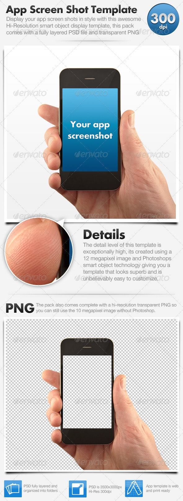 Smart Phone App Screenshot Display Template - Technology Isolated Objects