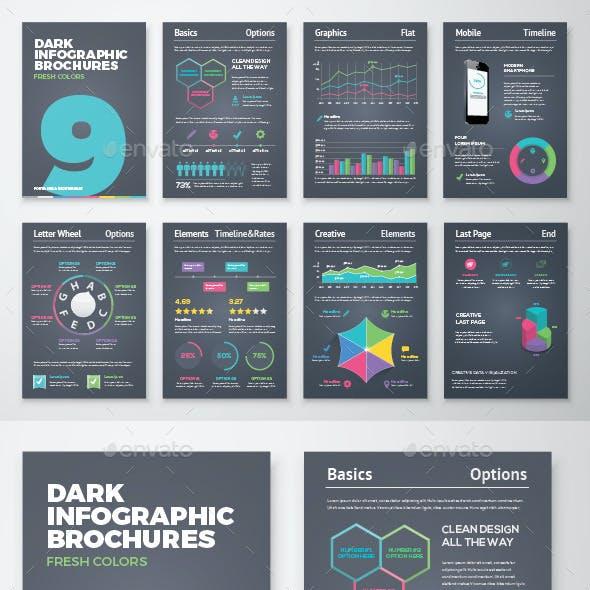 Dark Infographic Brochure Vector Elements Kit 9
