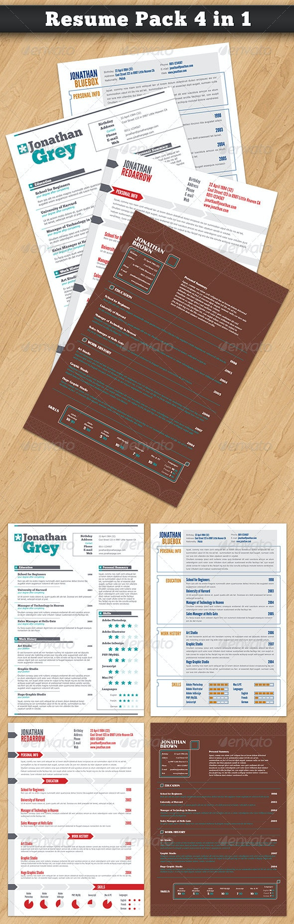 Resume Pack 4 in 1 - Resumes Stationery
