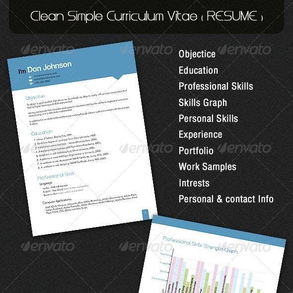Clean Simple Curriculum Vitae ( RESUME )