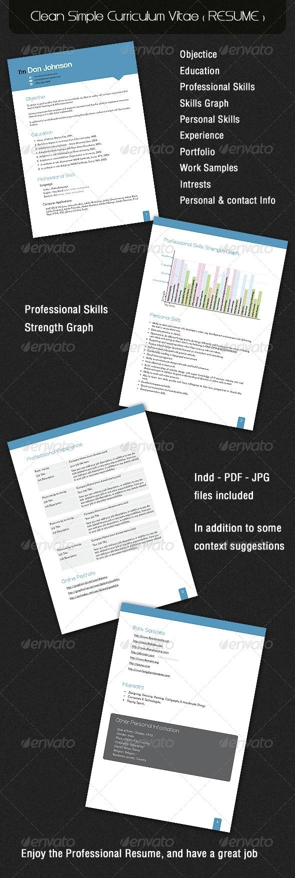 Clean Simple Curriculum Vitae ( RESUME ) - Resumes Stationery