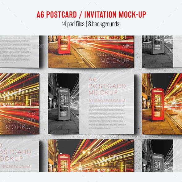 A6 Postcard / Invitation Mock-Up