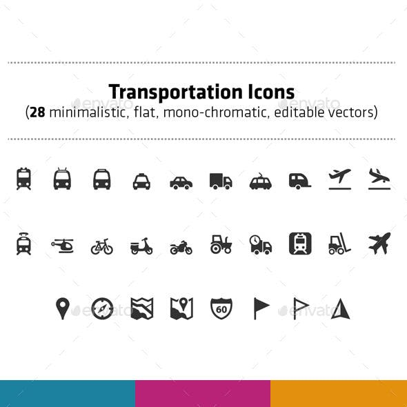 Transportation icons pack (28 vector icons)