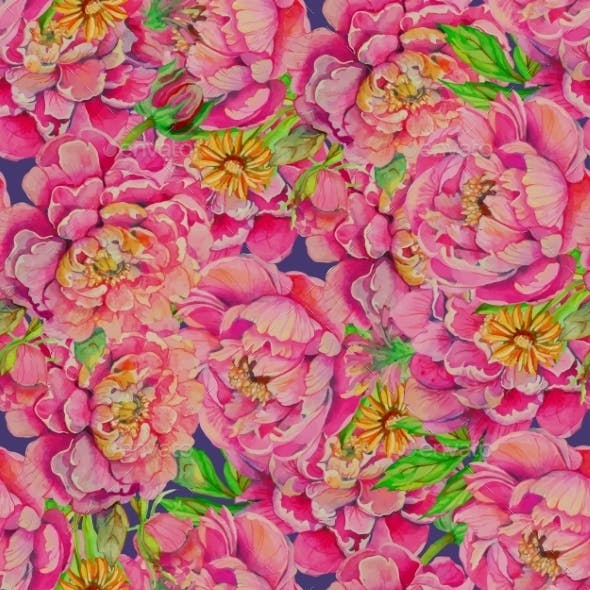 Seamless Pattern Of Peony Flowers With Leaves