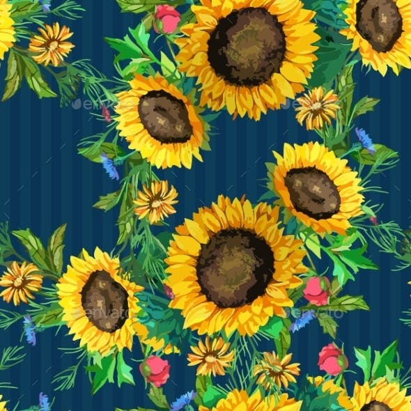 Seamless Pattern Of Watercolor Sunflowers Big