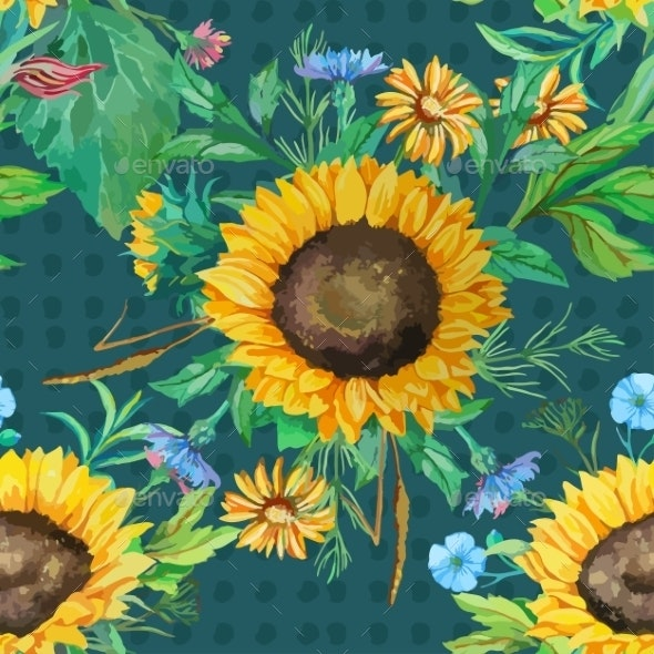 Seamless Pattern Of Watercolor Sunflowers - Flowers & Plants Nature