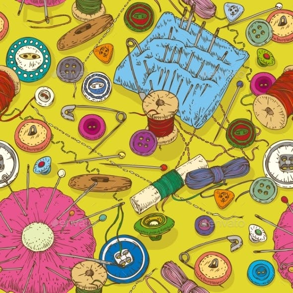 Seamless Pattern With Sewing Supplies, Tools And