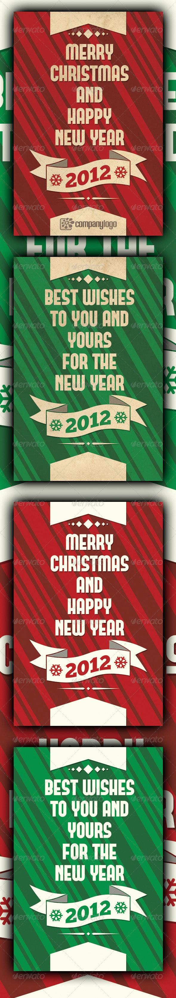 Retro Merry Christmas Card v2 - Holiday Greeting Cards