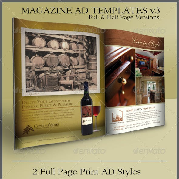 Print Ad Templates v3 Full & Half Page Designs