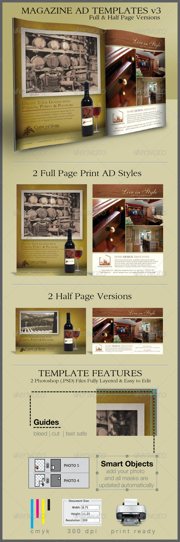 Print Ad Templates v3 Full & Half Page Designs - Commerce Flyers
