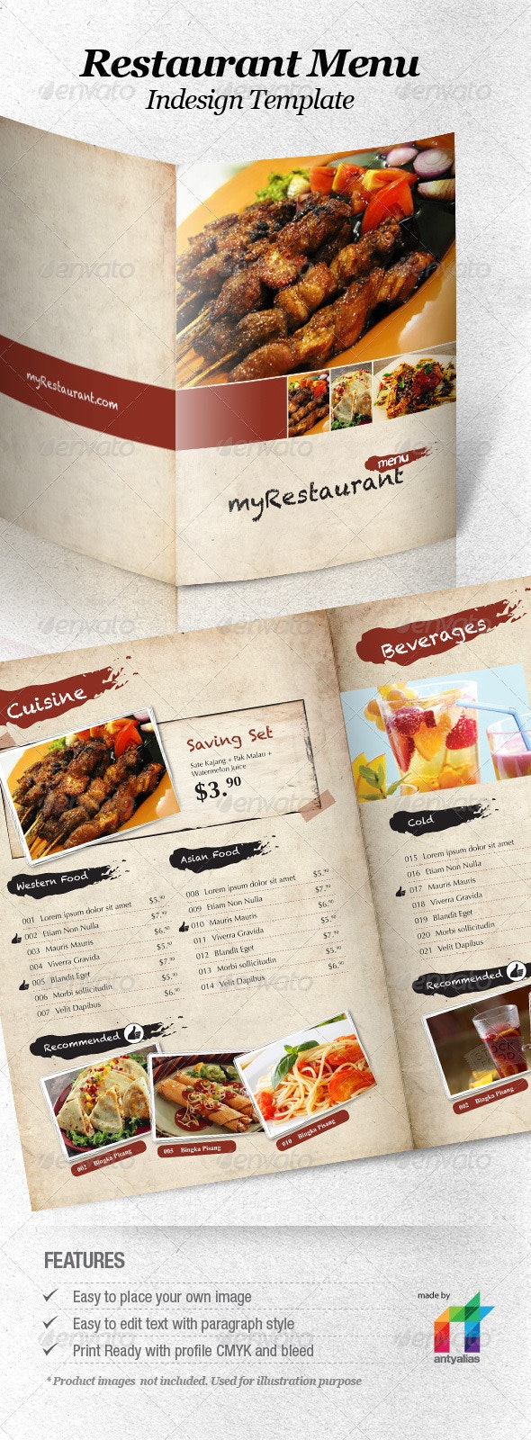 Restaurant Menu Indesign Template - Food Menus Print Templates