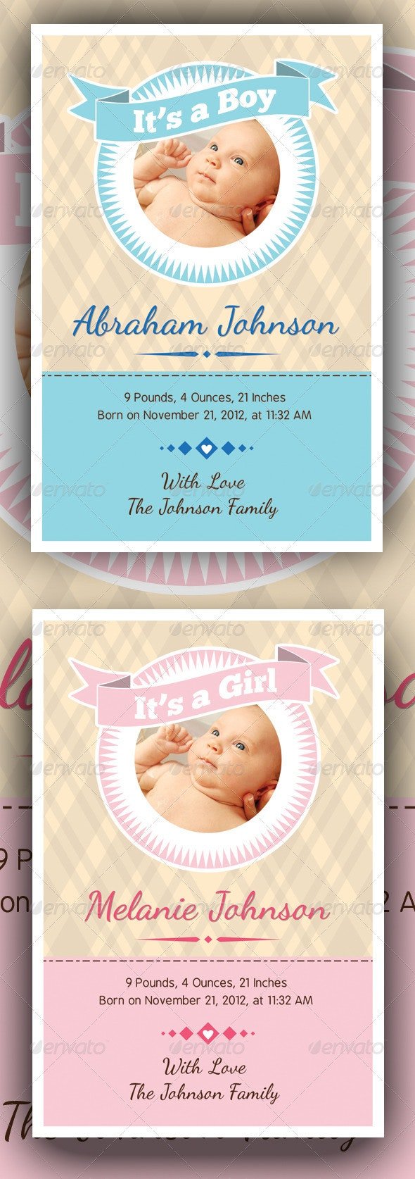 Baby Announcement Cards v3 - Family Cards & Invites
