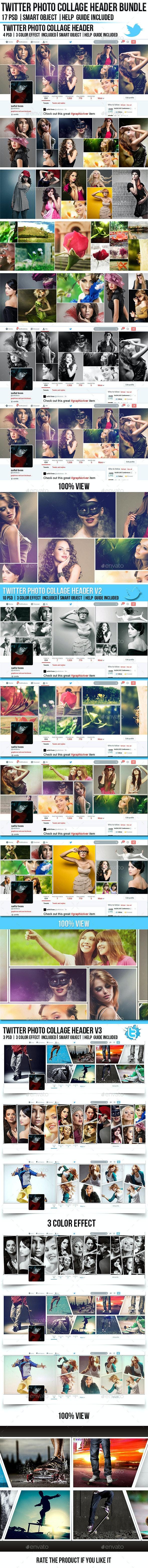 Twitter Photo Collage Header Bundle - Twitter Social Media