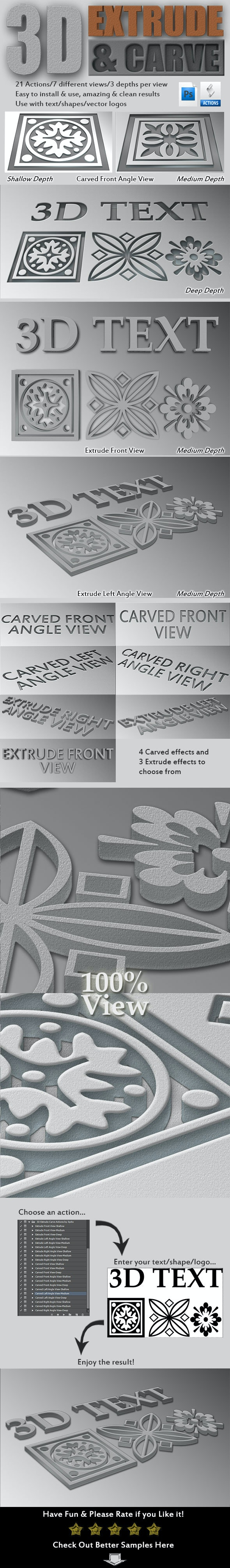 3D Extrude-Carve Actions - Text Effects Actions