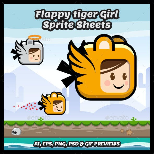 Flappy Tiger Girl Game Character Sprite Sheets