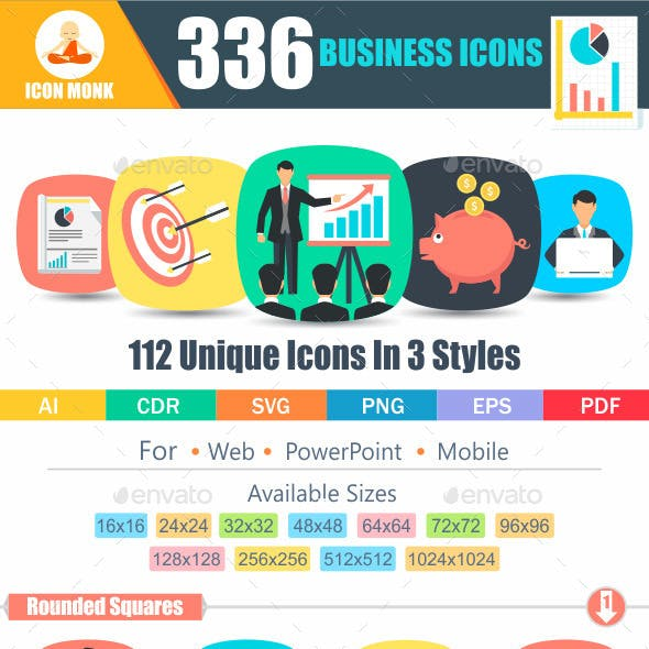 336 Business flat Icons