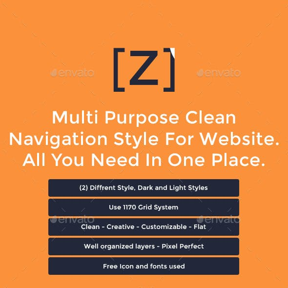 Z - Multi Purpose Clean Navigation For Website