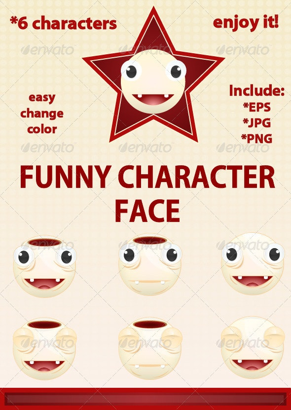 Funny Character Face - Characters Vectors