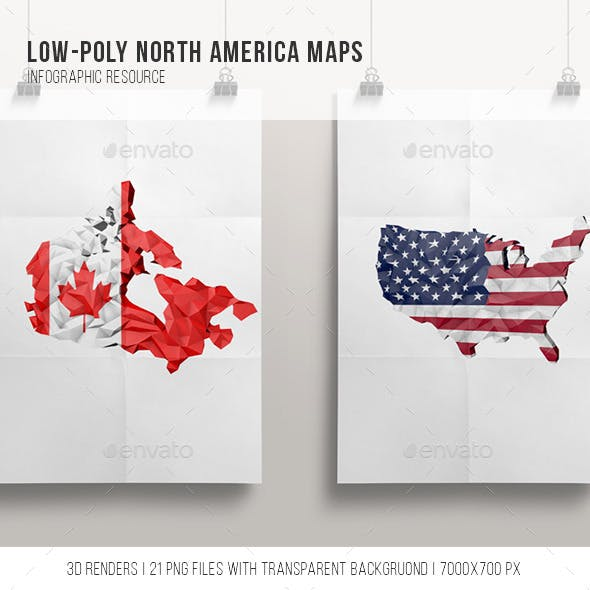 21 Low Poly North America Maps