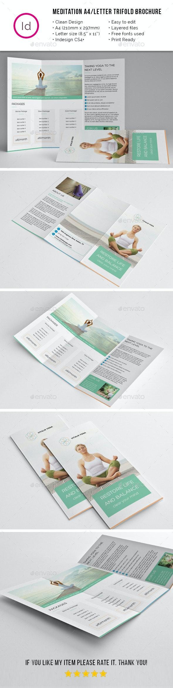 Yoga Meditation A4 / Letter Trifold Brochure - Corporate Brochures
