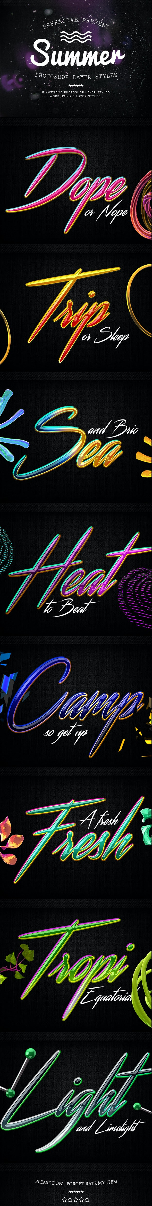 Summer Photoshop Layer Styles - Text Effects Styles
