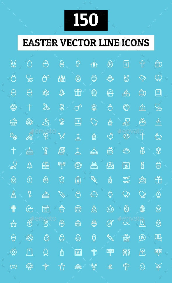 150 Easter Vector Line Icons
