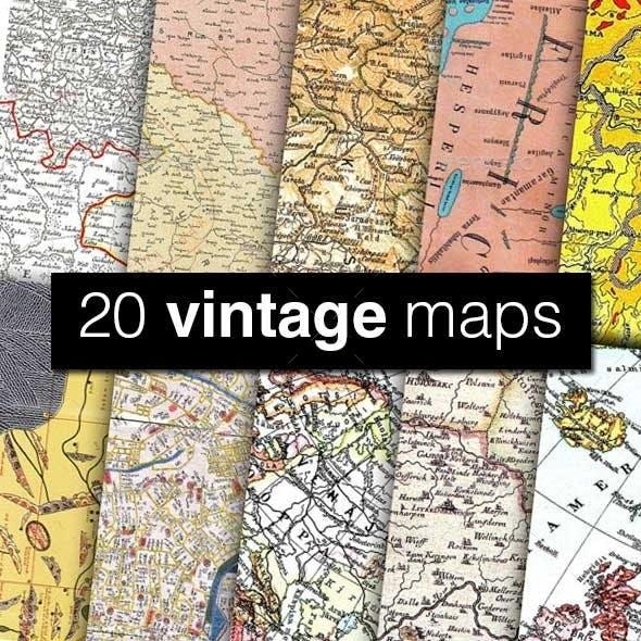 20 Vintage Map Textures