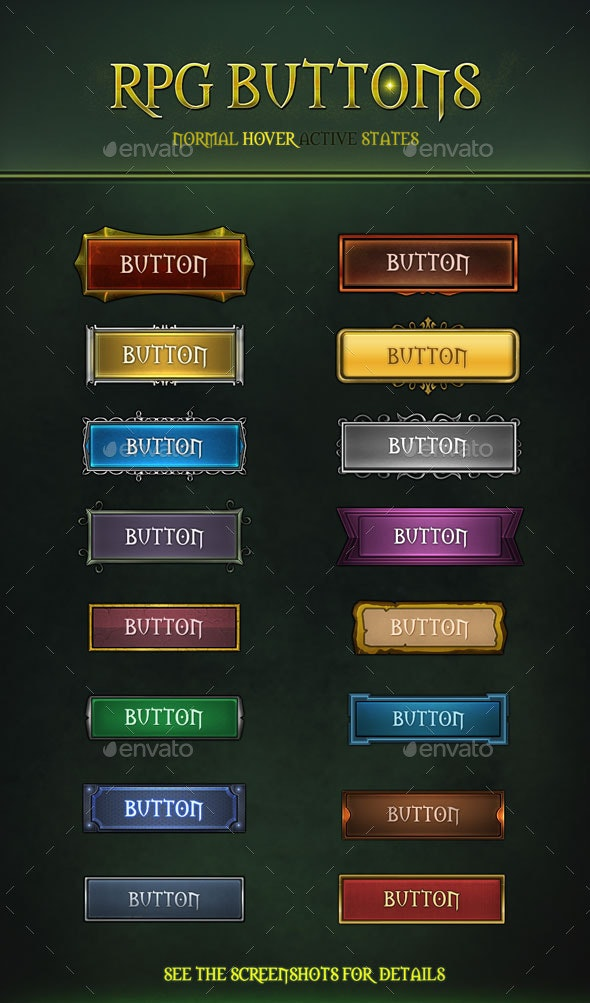 RPG Buttons - Buttons Web Elements