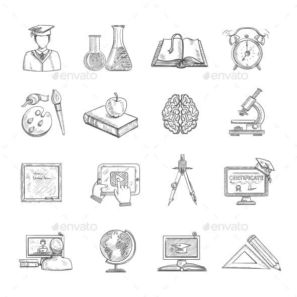 Education Icons Sketch Set
