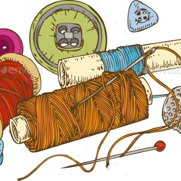 Three Color Spools Of Thread with Buttons