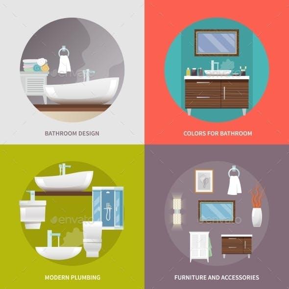 Bathroom Furniture Flat Icons