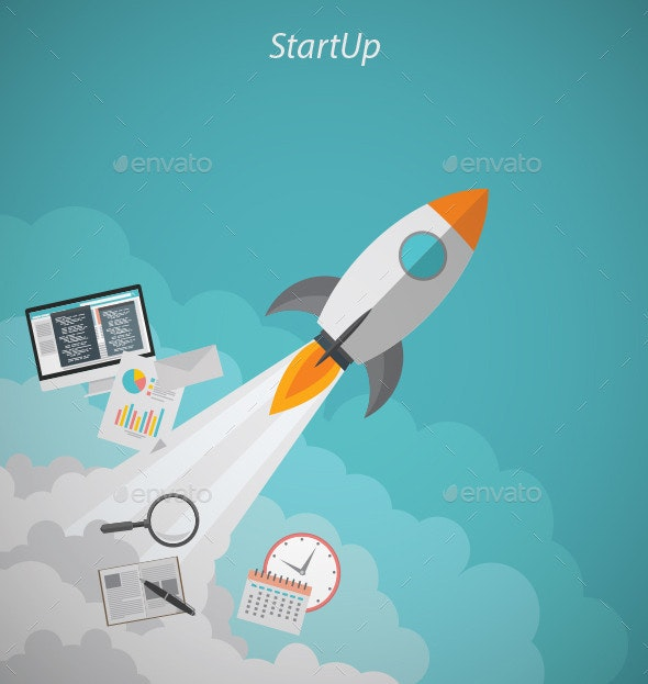 Startup Rocket Concept - Conceptual Vectors