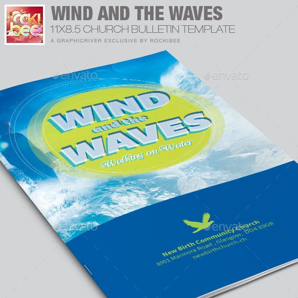 Wind and the  Waves Church Bulletin Template