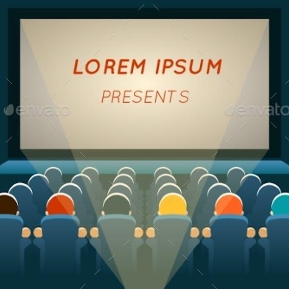 People Watching Film In Cinema