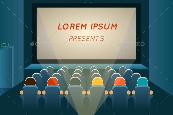 People Watching Film In Cinema - Miscellaneous Vectors